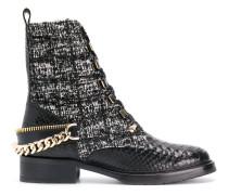 embellished tweed biker boots