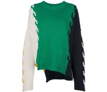 colour-block cable knit oversized jumper