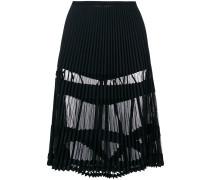 sheer panelled pleated skirt