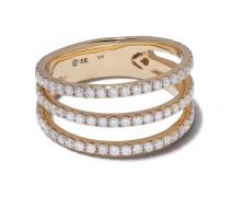 18kt dreifacher Goldring mit Diamanten