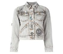 embellished shrunken denim jacket