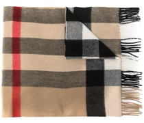check-pattern cashmere scarf