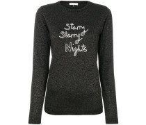 sparkle pullover with embroidered slogan