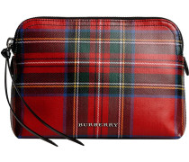 large laminated tartan and check pouch