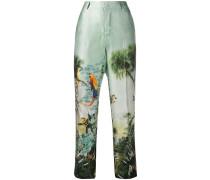 Cropped-Hose mit tropischem Print