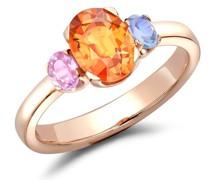 18kt 'Rainbow' Rotgoldring mit Saphiren