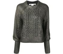Metallic-Pullover mit Zopfmuster