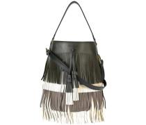 fringed bucket shoulder bag