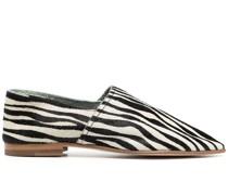 Ponyhaar-Loafer mit Zebra-Print
