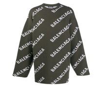 Intarsien-Pullover mit Logo