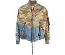 Camouflage-Jacke mit Jeanseinsätzen