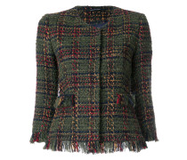 Kurze Tweed-Jacke mit Fransensaum