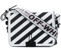 striped textured shoulder bag