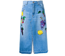 Gerader Jeansrock mit Patches