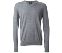 Merino-Pullover mit V-Kragen