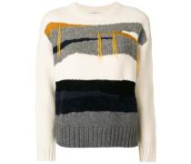 striped panel sweater