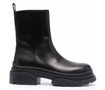 zip-up leather boots