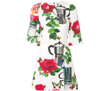 coffee pot print brocade dress