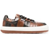Gestreifte Sneakers aus Aalleder