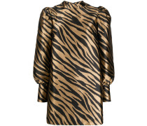 zebra print puff-sleeve dress