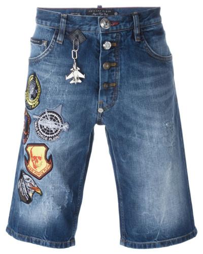 philipp plein herren jeans shorts mit patches reduziert. Black Bedroom Furniture Sets. Home Design Ideas