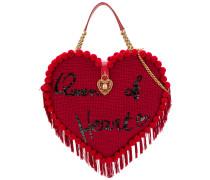 Verzierte Schultertasche in Herzform