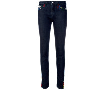 embroidered stitching skinny jeans