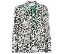 Schluppenbluse mit Leoparden-Print