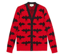 Bat jacquard knitted cardigan