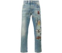 Jeans mit Insekten-Stickerei