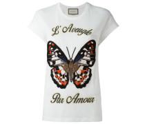 T-Shirt mit aufgesticktem Schmetterling