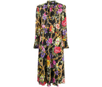 Geblümtes Kleid mit Schleifenkragen