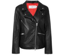 off centre zipped biker jacket