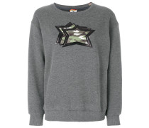 camouflage stars patch appliqué sweater