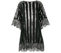 sheer striped and lace trimmed oversized top