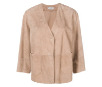 collarless suede blazer