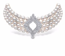 18kt white gold Royal Akoya pearl and diamond choker