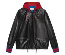 Leather bomber jacket with nylon hood