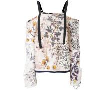Schulterfreies Oberteil mit Blumen-Print