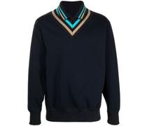 Pullover mit gestreiftem Strickkragen