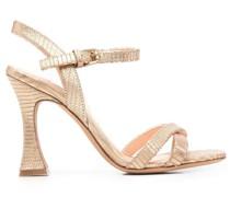 Strukturierte Sandalen im Metallic-Look