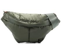 logo-patch metallic belt bag