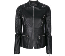 embroidered back zip detailed leather jacket