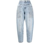 Cropped-Jeans mit Kristallverzierung