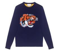 Pullover aus Wolle mit Tiger-Intarsie
