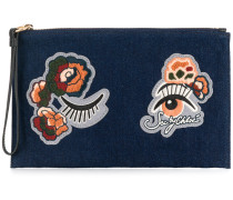Jeans-Clutch mit Patches