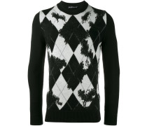 distressed argyle knit jumper