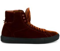 velvet hi-top sneakers