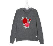 Intarsien-Pullover mit Rosenmuster