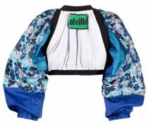 Offene Cropped-Jacke mit Blumen-Print